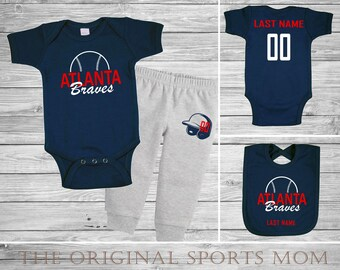 3pc Personalized Atlanta Braves Jersey-Style One Piece/Pants/Bib! Sports/Baseball/Football/Basketball. Perfect as a Babyshower Gift!