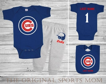 24a6f216 3pc Personalized Chicago Cubs Jersey-Style One Piece/Pants/Bib!  Sports/Baseball/Football/Basketball/Hockey. Perfect as a Babyshower Gift!