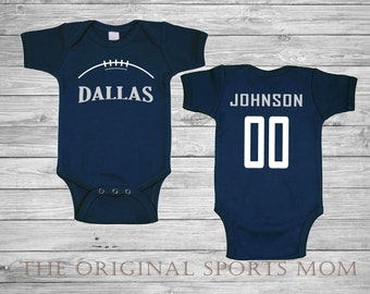 Dallas cowboys baby etsy personalized dallas jersey style baby one piecebib footballsportscowboysdallas perfect as a babyshower gift negle Gallery