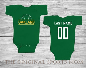 c0d6cf37 Personalized Okland Athletics Jersey-Style Baby One Piece/Bib! New York/ Baseball/A's. Perfect as a Babyshower Gift!