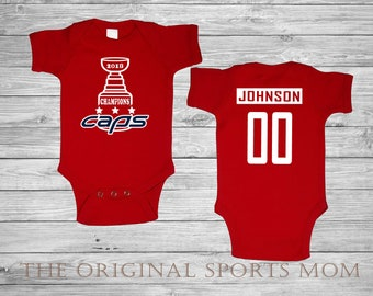 Personalized 2018 WASHINGTON CAPITALS Stanley Cup Champs! Baby One  Piece Bib! HOCKEY. Perfect as a Babyshower Gift or baby s 1st photoshoot! 9e1fc9c2b793
