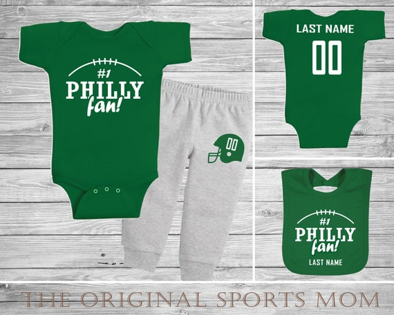 finest selection ff917 0ee30 3pc Personalized Philadelphia Eagles Jersey-Style One Piece/Pants/Bib!  Sports/Baseball/Football/Basketball. Perfect as a Babyshower Gift!