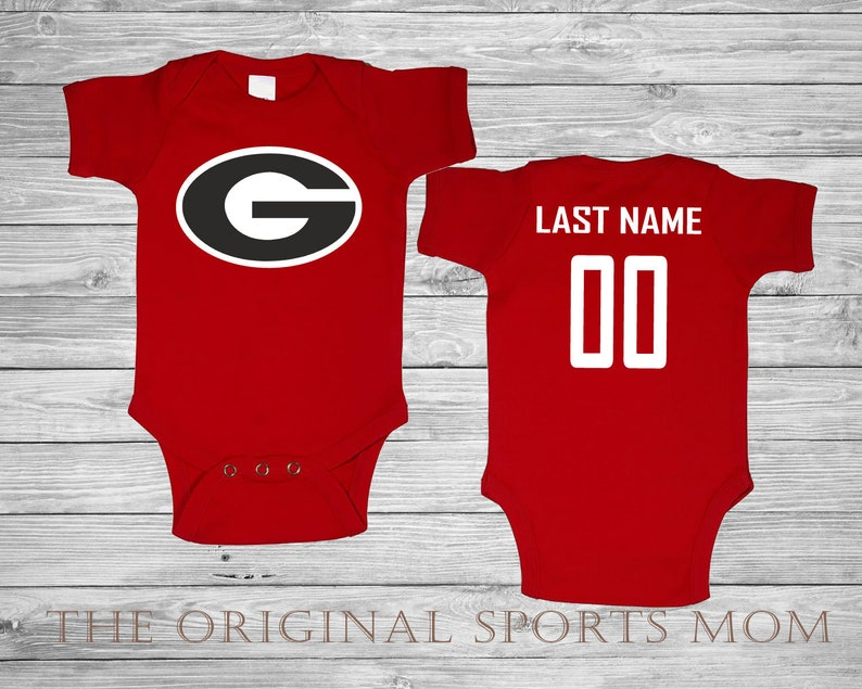 sale retailer 65c56 bb0ee Personalized Georgia Bulldogs Jersey Style Baby One Piece/Bib.  Football/Sports. Perfect as a Babyshower Gift!