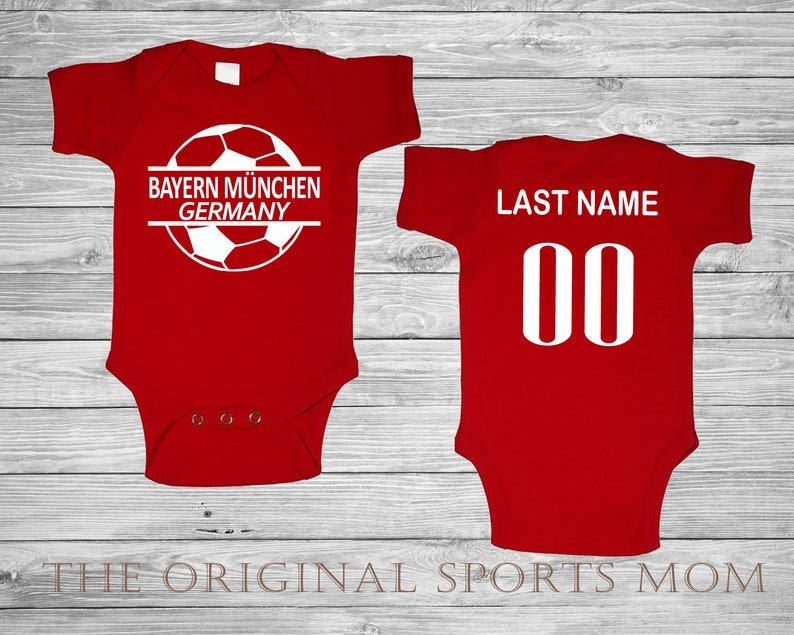 buy cheap d04ac e8bf4 Personalized Bayern Munchen Germany Futbol/Soccer Jersey-Style Baby One  Piece/Bib. Soccer/Futbol/Sports/. Great Babyshower Gift!