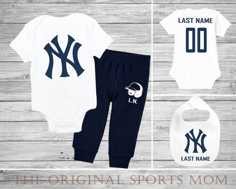 acd75f46290 3pc Personalized New York Yankees Jersey-Style One