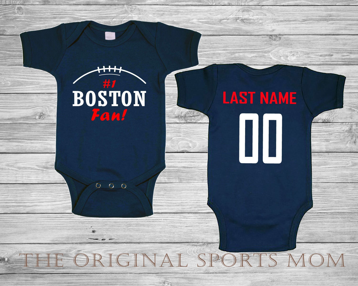 3eee49eecc9 Personalized New England Jersey Style Baby One Piece/Bib. | Etsy
