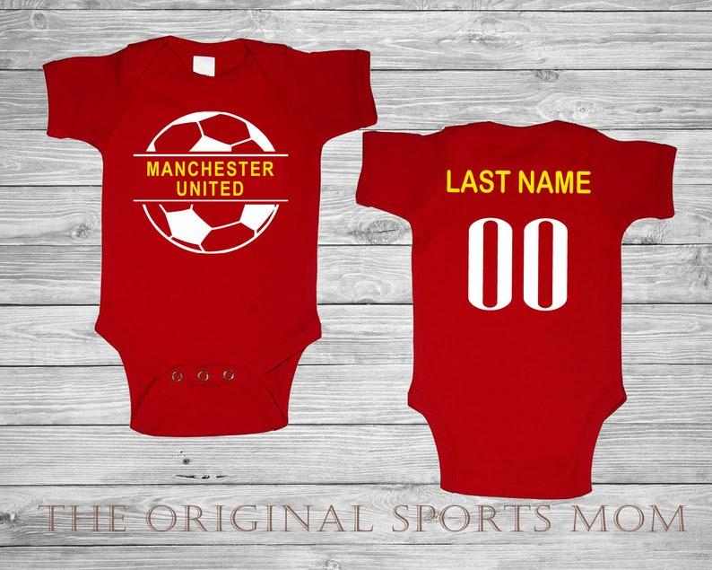 pretty nice 8959f 0c162 Personalized Manchester United Futbol/Soccer Jersey-Style Baby One  Piece/Bib. Soccer/Futbol/Sports/. Great Babyshower Gift!