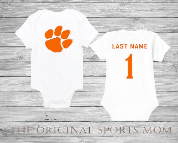 Personalized Clemson University Tigers Jersey Style Baby One Piece Bib Football One Piece Perfect As A Babyshower Gift