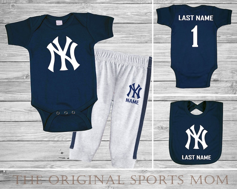 pretty nice 99690 2d185 3pc Personalized New York Yankees Jersey-Style One Piece/Pants/Bib!  Sports/Baseball/Football/Basketball. Perfect as a Babyshower Gift!