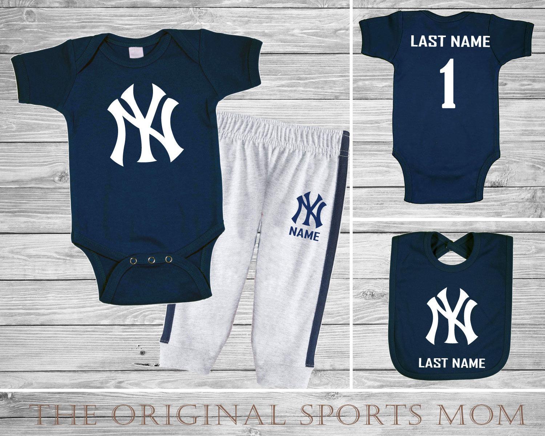 pretty nice ed16c 8cb09 3pc Personalized New York Yankees Jersey-Style One Piece/Pants/Bib!  Sports/Baseball/Football/Basketball. Perfect as a Babyshower Gift!