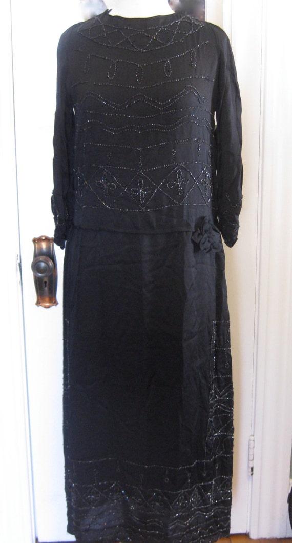 1920's Silk Charmeuse Jet Beaded Dress
