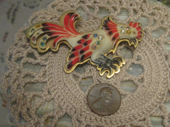 1930's French Celluloid Rooster Brooch