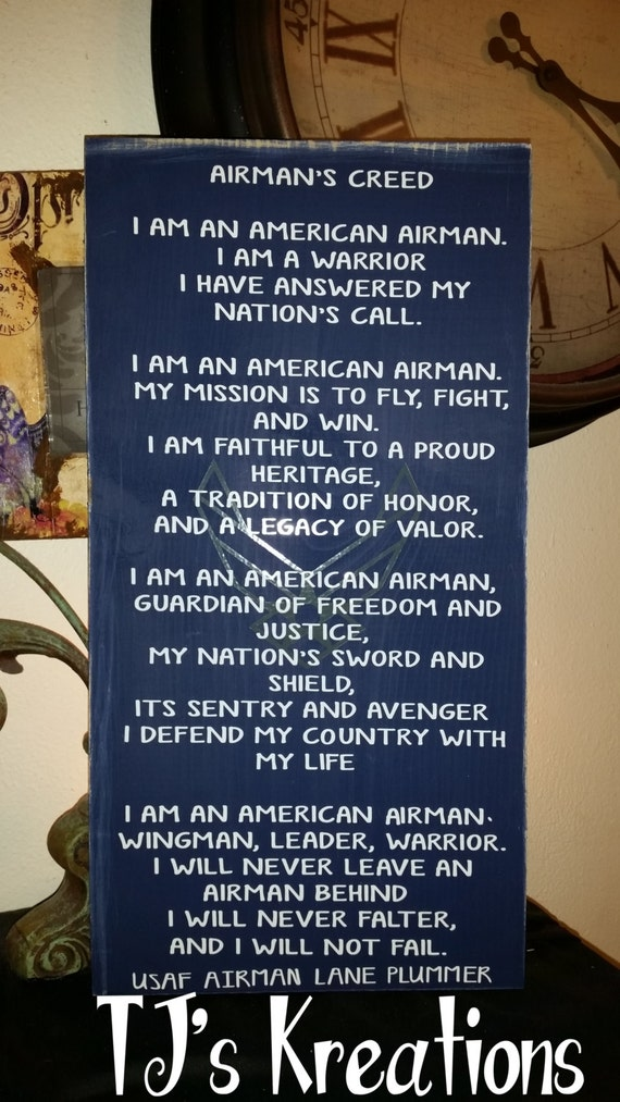 Air force usaf airman creed sign etsy thecheapjerseys Images