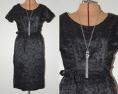 FREE SHIPPING Vintage 1950s Black Wiggle Chintz Satin Silk Date Night Bombshell Embroidered Ruched Dress Frock w Belt Joan. Size XS Small
