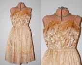 FREE SHIP Vintage 1950s Golden Girls Shiny Metallic Leaves Brocade Sleeveless Juniors Dance Party Prom Dress Frock Glam Size XS Small