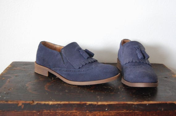 76b3f82eaf8c2 Blue Suede Leather Shoes Slip Ons Loafers Flats with Tassel.