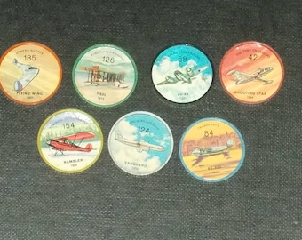 Vintage Lot Of 7 Jello And Hostess Chips Wheel Chips With Different Planes Photos From Set Of 200 Circa 1970's