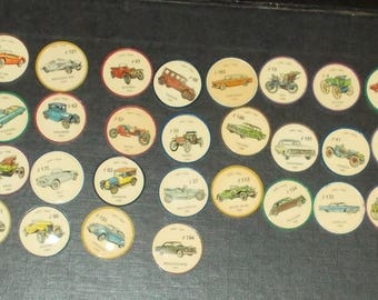 Vintage Lot Of 35 Jello Wheel Chips With Different Car Photos From Set Of 200 Circa 1970's