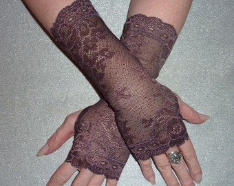 Sheer BROWN  Floral Stretch Lace Fingerless Gloves/Arm Warmers/Mittens/Gypsy Boho Style Gloves/Wedding/Burlesque/Stylish Gloves/