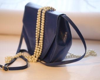 Jahrgang blau Leder Handtasche, ein interessanter gestalten, Pouch, hell blau Taschenbuch, schöne Ultramarin Leder Geldbörse 1980er Jahre