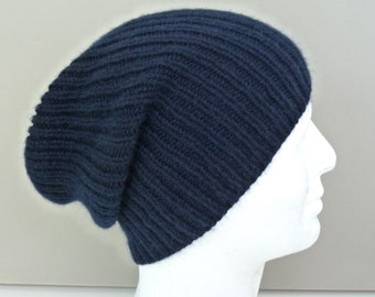 20481b0eb10 Navy blue 100% cashmere hat. Mens hat beanie. Hand knit ribbed fisherman  hat. Handknit watch cap. Ski hat. Size L XL.
