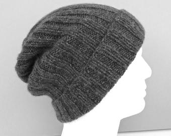 9ef9c2ad49b 100% cashmere beanie hat. Mens   womens hat. Hand knit hat. Ribbed  fisherman hat. Watch cap. Ski hat. Handknit gray cuffed beanie. Size L XL