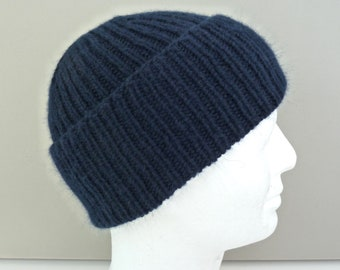 fa433341 Navy blue 100% cashmere hat. Mens hat beanie. Hand knit ribbed fisherman hat.  Handknit watch cap. Ski hat. Size L/XL.