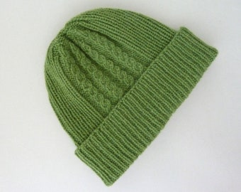 100% cashmere hat for men. Hand knit ribbed beanie with cable pattern.  Handknit fisherman hat. Watch cap. Ski hat. Sage green hat. Size M L 1428ad9107dc