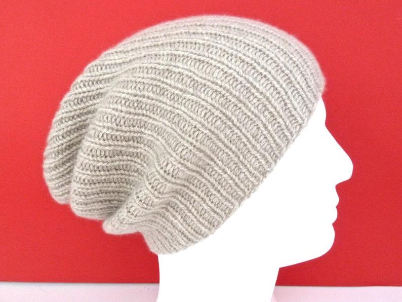 9bf21aaa 100% cashmere hat. Mens hat beanie. Hand knit hat. Ribbed fisherman hat.  Watch cap. Ski hat. Handknit beige slouchy beanie. Size L/XL.