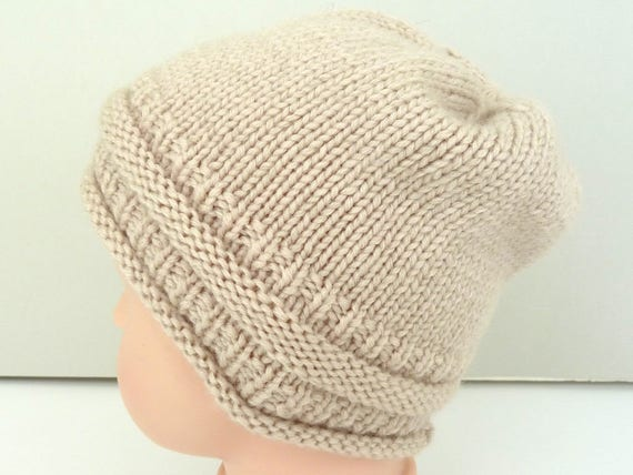 6885fb70ea0 Merino wool baby beanie. Hand knit baby hat. Girls slouchy