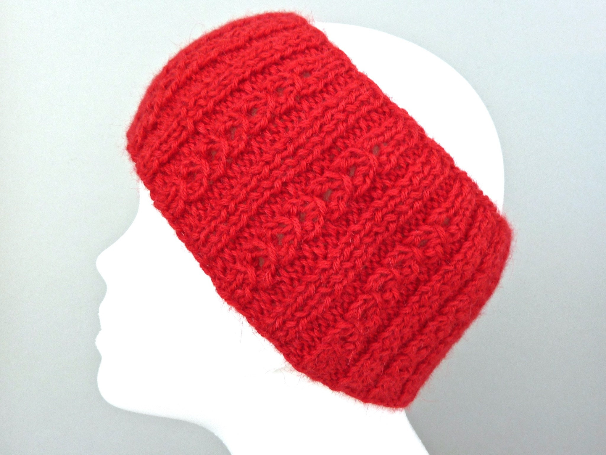 66512dc6e2d9 Hand knit red alpaca wide headband with cable pattern. Size