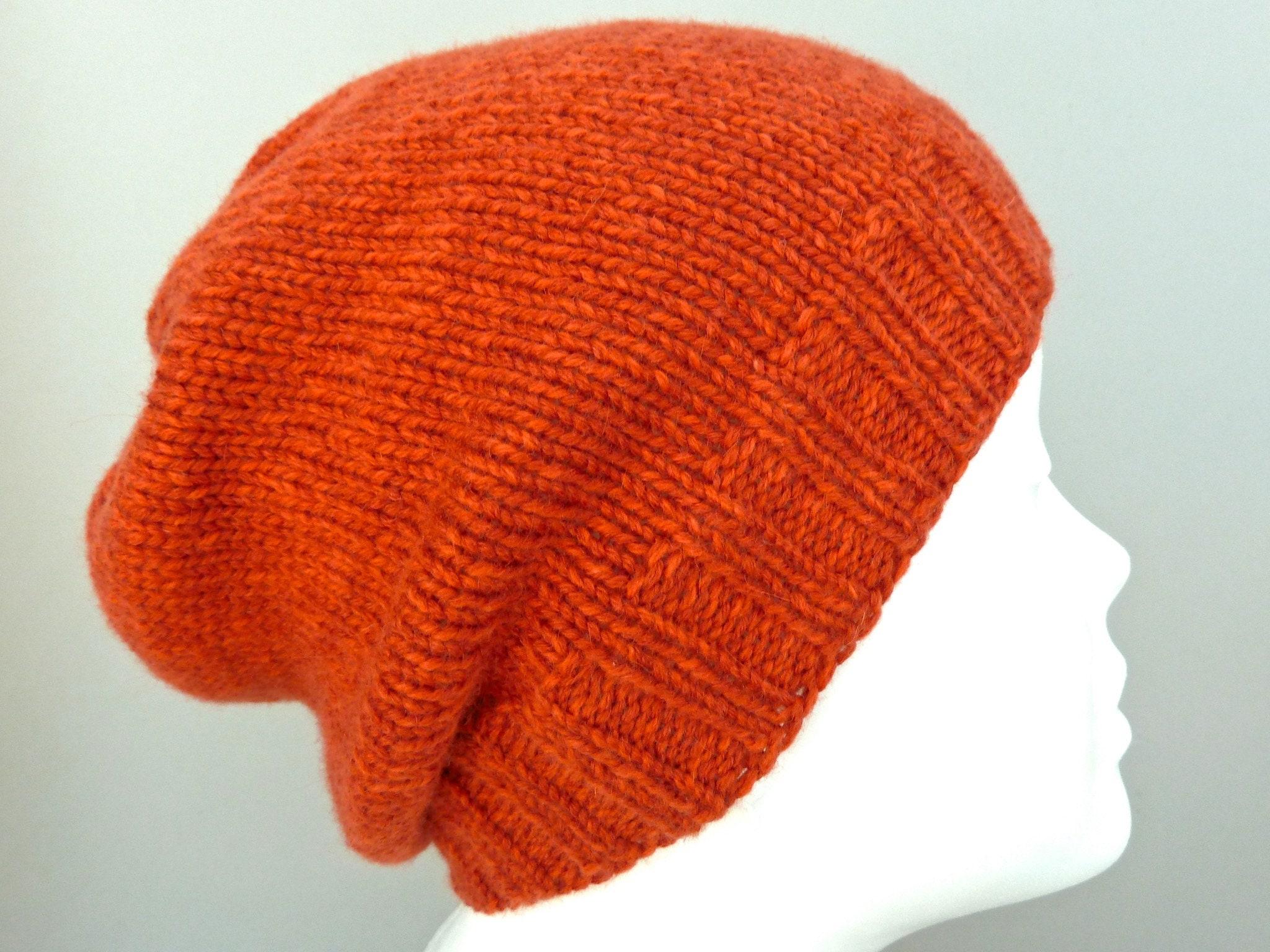 858e6e557377 Burnt orange 100% merino wool hat. Hand knit beanie hat for