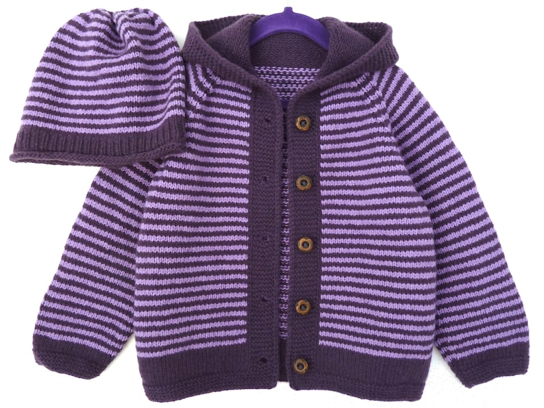 fbc16ccf967a Toddler girl sweater   hat set. Hand knit hooded cardigan.