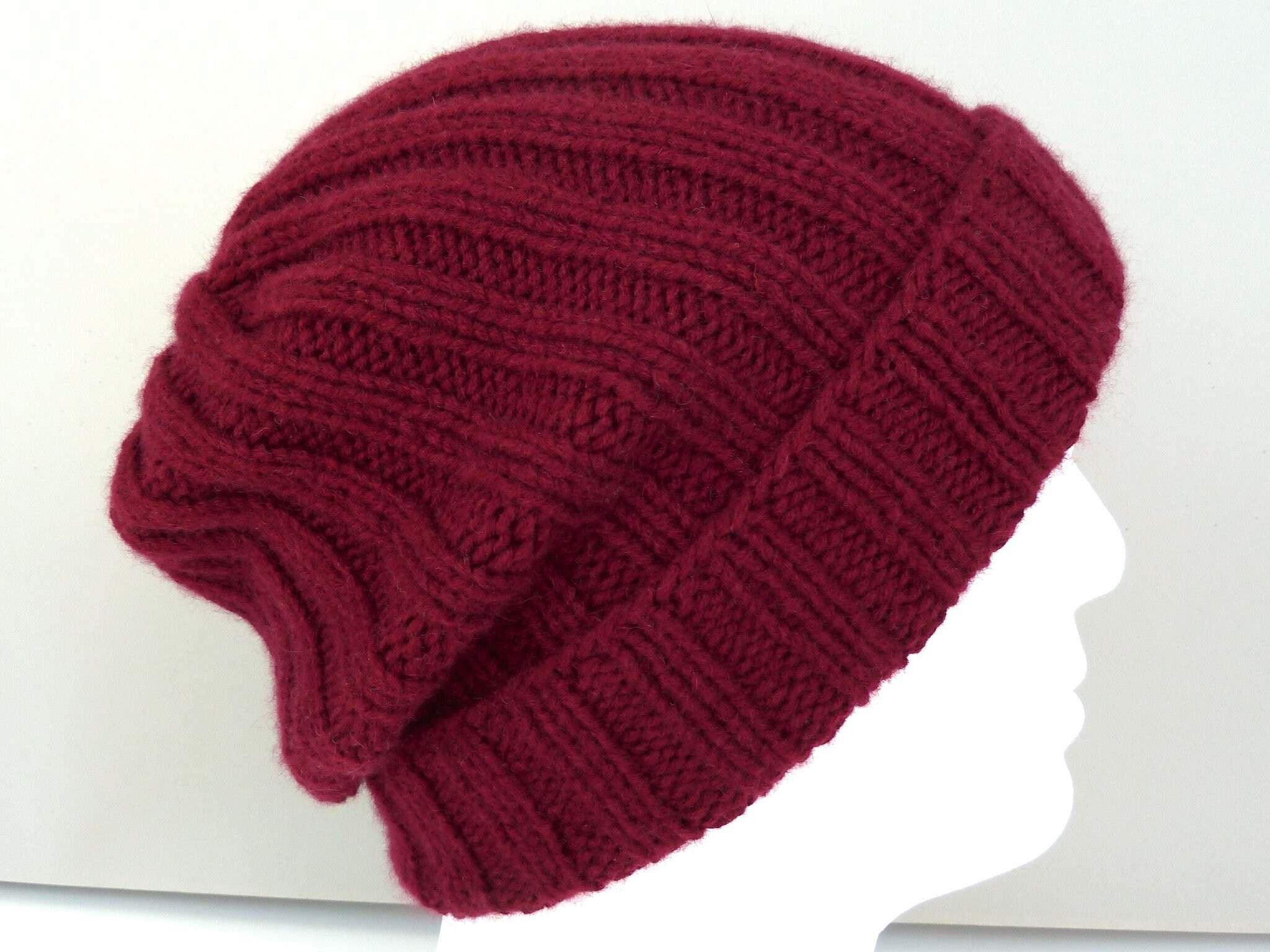 08aad9c2afc Burgundy 100% cashmere hat. Mens hat. Hand knit ribbed beanie.