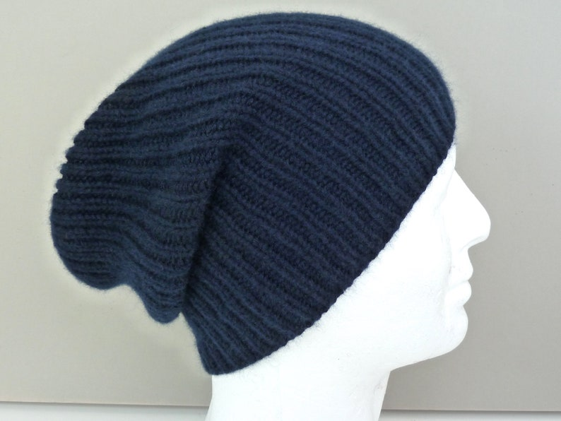 ae221f897ddc1 Navy blue 100% cashmere hat. Mens hat beanie. Hand knit ribbed