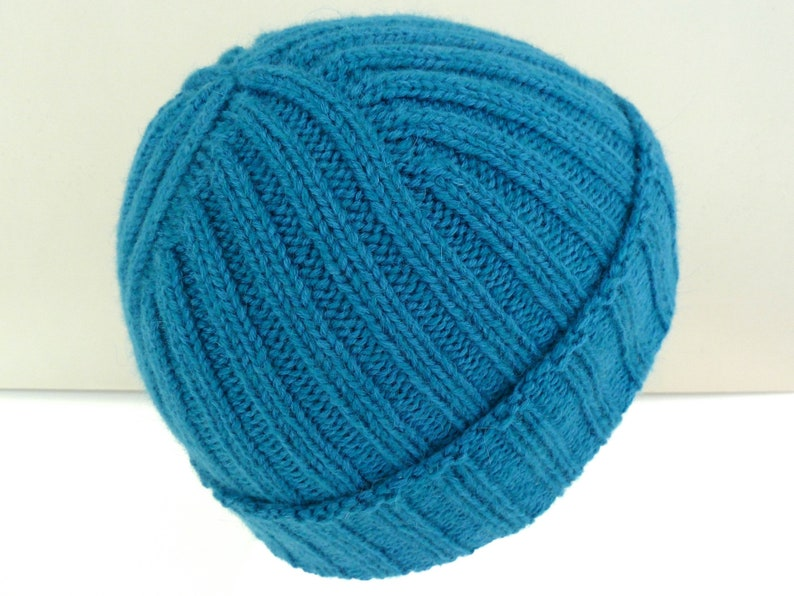 f2572e8b1cec Teal blue merino wool hat. Hand knit ribbed fisherman hat.