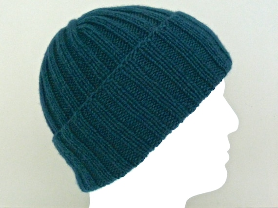 84042bd7e33a Dark green wool   cashmere hat. Mens hat. Hand knit ribbed