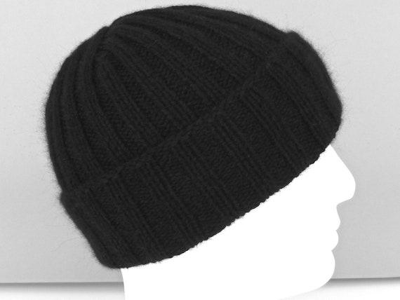 2f4c28fa76f0c 100% cashmere hat. Black ribbed fisherman hat. Hand knit hat.