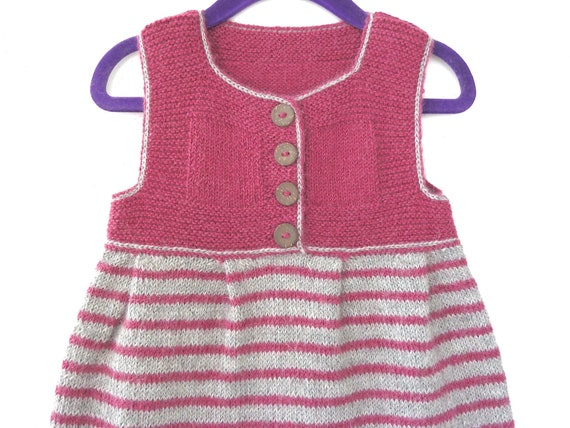 279d8d1a63b2 Hand knit baby clothes. Girl baby dress. Knit baby sweater