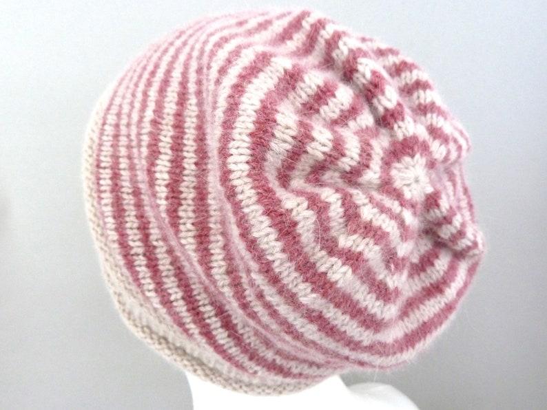 cc3fbe419695 Lambswool   angora hand knit hat. Girls slouchy beanie.