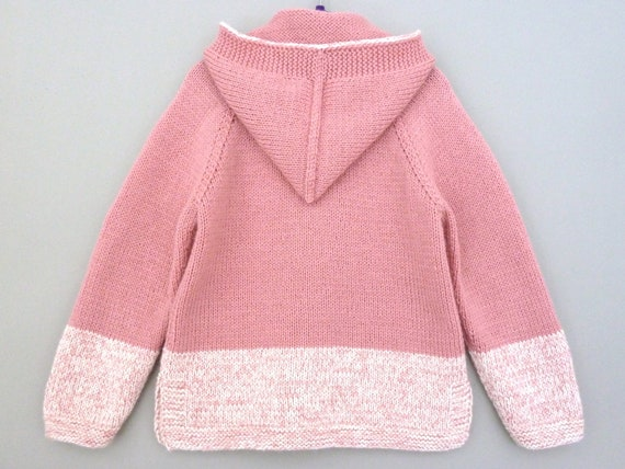 87586ff65be3 Toddler girl sweater. Hooded cardigan. Hand knitted wool