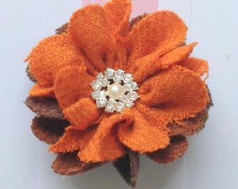 Harris Tweed Brooch, Corsage, Orange Brown Harris Tweed, Scottish Gifts, Birthday Gift, Anniversary Gift, Gift For Her