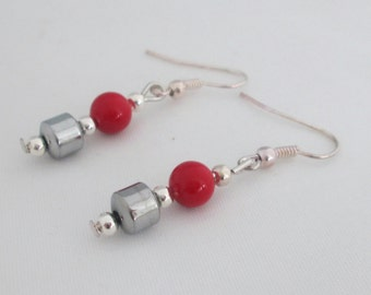 Red and Silver Earrings, South Sea Shell Pearls, Silver Hematite, Birthday Gift Idea, Gift for Her, Girlfriend, Daughter