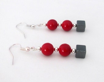 Red Earrings, South Sea Shell Pearl Earrings, Birthday Gift, Anniversary Gift, Gift for Mum, Gift for Her, Wife, Sister, Friend, Daughter