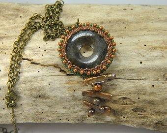 Artisan one of a kind pendant/necklace with labradorite and freshwater pearls