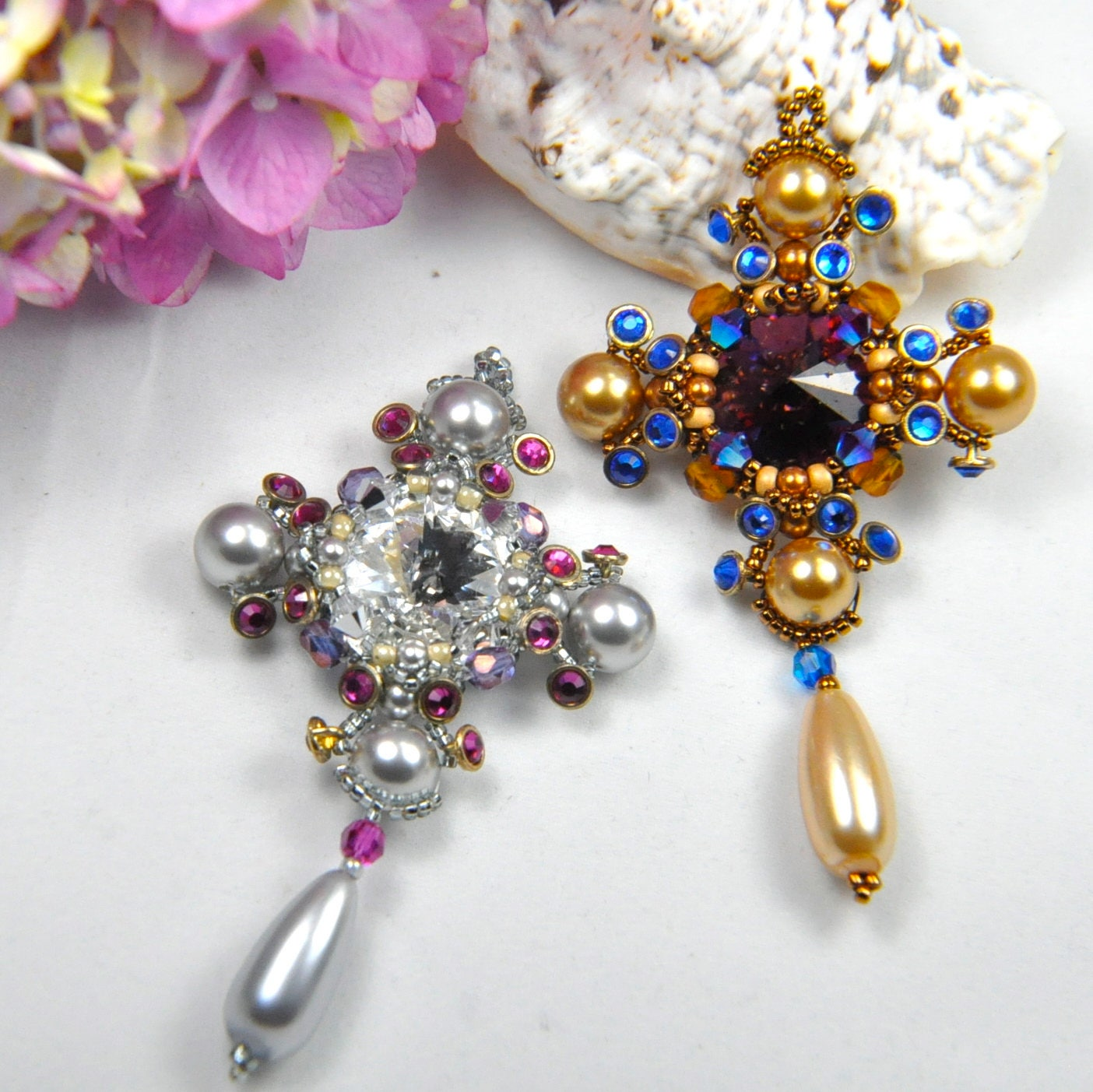 Pendentif médaillon en tissage de perles kit (toutes les les les perles et tutoriel photo imprimée) «Croix du Sud» 1290c8