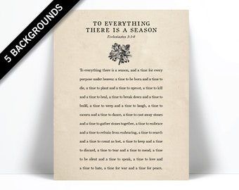 Ecclesiastes 3:1-8 Art Print - For Everything There is a Season - Scripture Art - Bible Verse Poster - Scripture Wall Art - Christian Decor