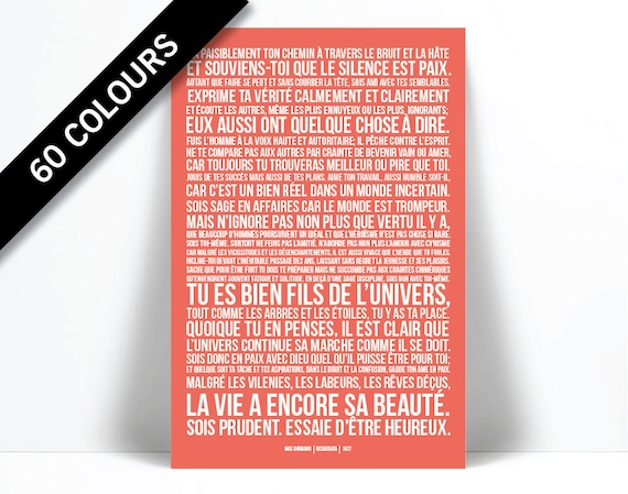 0651e37b9754 Desiderata French Translation Max Ehrmann Poetry Poster   Etsy