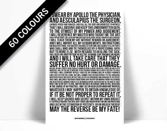 The Hippocratic Oath Art Print Hippocrates Medical Quote Poster Gift For Doctor Medical Student Gift Typography Graduation Gift