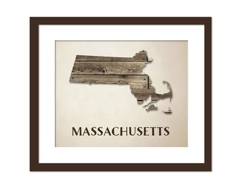 Massachusetts Map Art Print - State Map - Wood Background Rustic Art Poster - Geography Poster - Massachusetts Art Print - 10x8 Art Decor